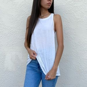 White athletic top with open back